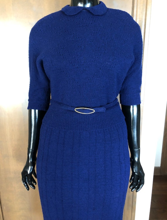 1940s Knit Dress Set Navy Blue Wool Knit Set with
