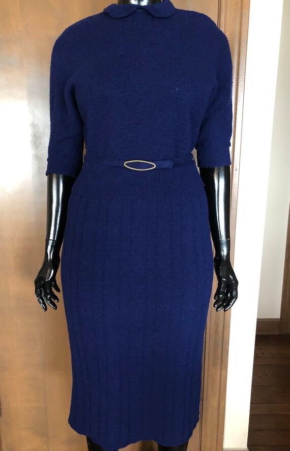 1940s Knit Dress Set Navy Blue Wool Knit Set with… - image 9