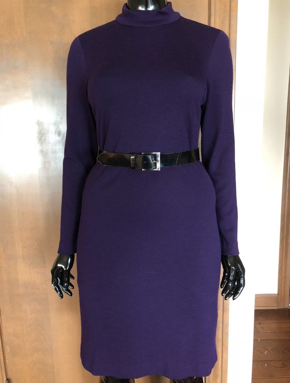 1970s Dress Purple Wool Dress By Austin Reed Etsy