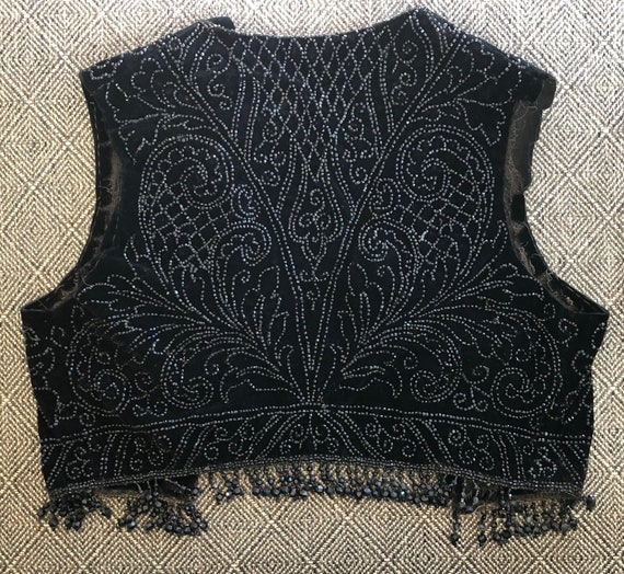 1910s Beaded Vest Edwardian Black Velvet Bodice Pi