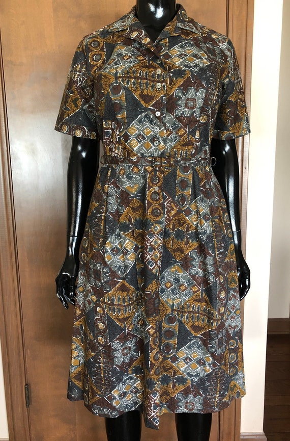 1950s Dress Abstract Cotten Print Day Dress by Ann
