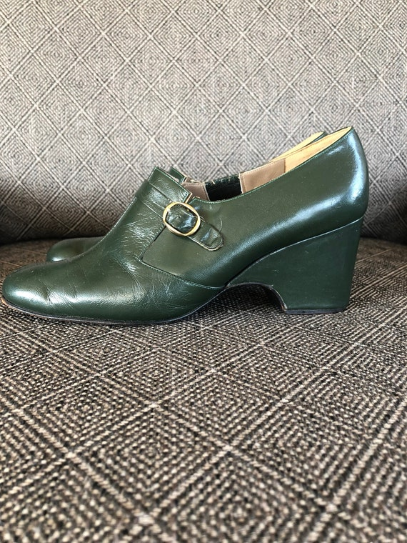 1940s Shoes Green Leather Wedges