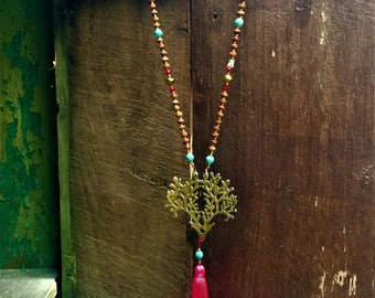 Tree of Life Bead Tassel Necklace