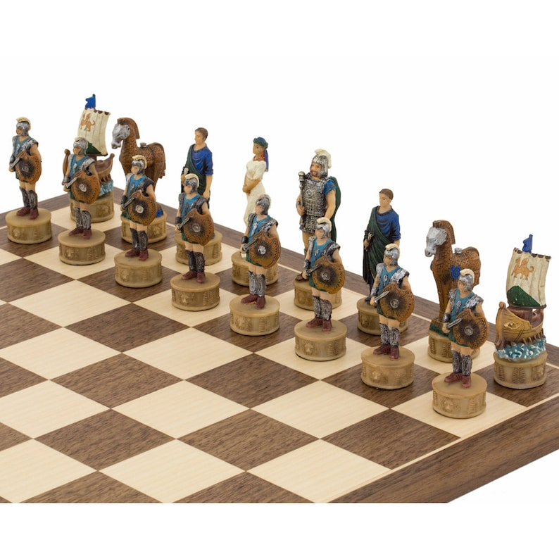 The Battle of Troy Hand painted themed chess pieces by Italfama