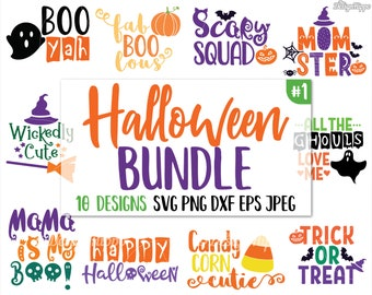 halloween svg bundle halloween bundle svg trick or treat svg boo yah svg mama is my boo svg ghoul svg witch hat svg dxf png cricut
