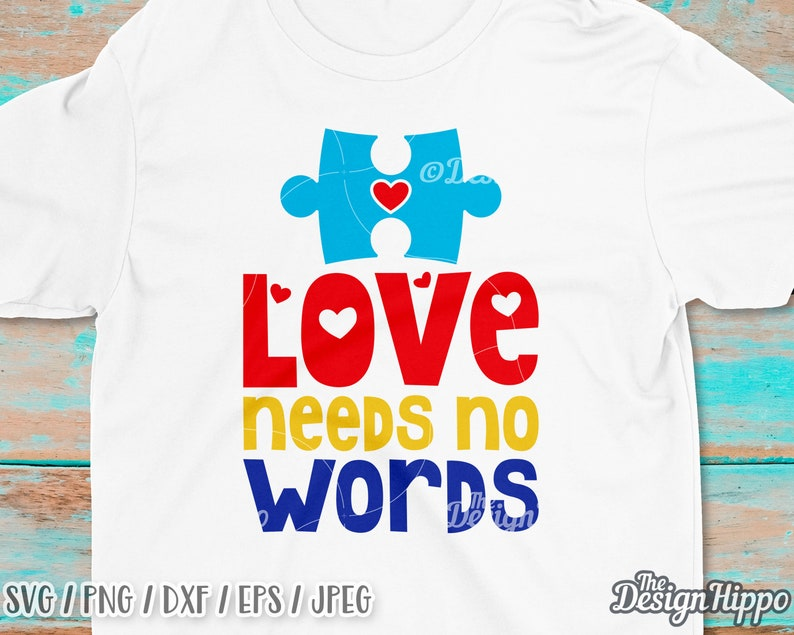 7016f8495c2 Love needs no words svg Autism awareness svg Puzzle piece | Etsy