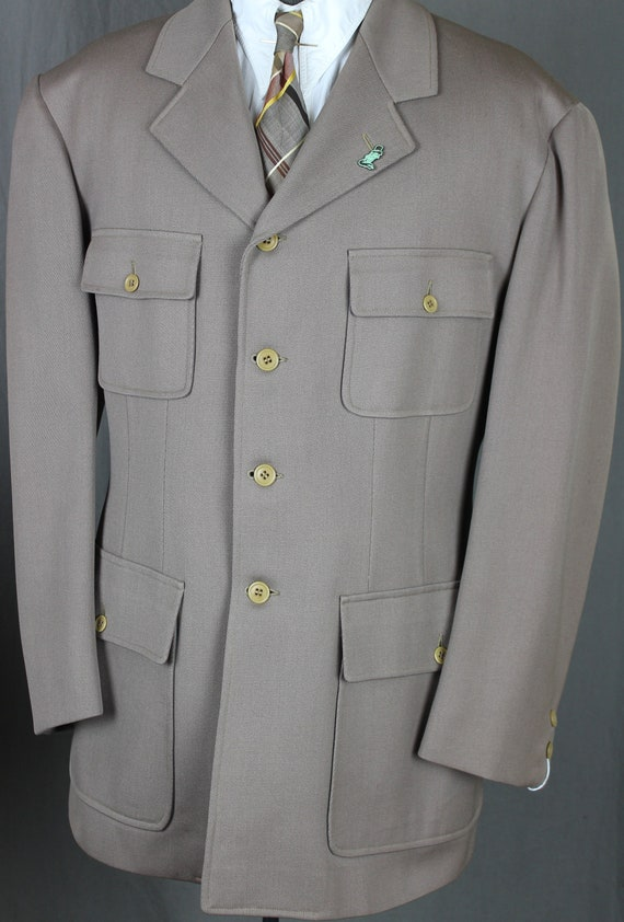 Large 30s Beige SB Belted Back Sports Jacket - 40s