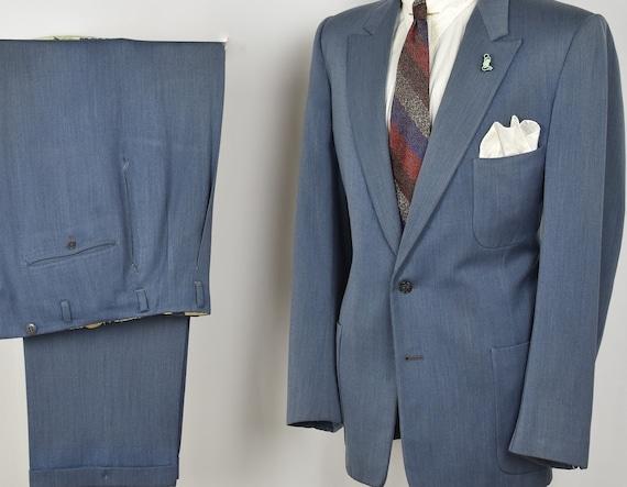 40s 50s Blue Gab SB Peak Lapel Fleck Suit