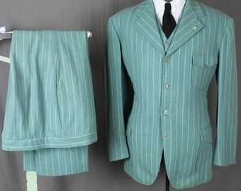 """RESERVED - 30s style Teal SB 3 pc Pinstripe Suit - Worn by Carl Ballentine in Mel Brooks' """"The Worlds Greatest Lover"""" - Hollywood Movie"""