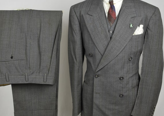 40s DB 3pc Gray Herringbone Suit - 30s Vintage Pin