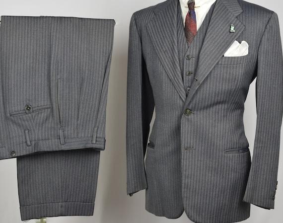 30s Gray SB 3pc Striped Suit - 40s Vintage Burgund