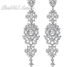 PoshUSAstore Silver Color,Gold color Crystal Wedding Long Earrings Floral Shape Chandelier Earrings