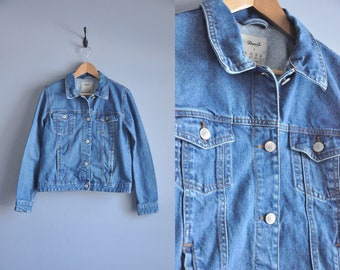 classic 1990s clothing clothes spring fashion outerwear, vintage women/'s denim coat 90s jean jacket button up collared XS extra small