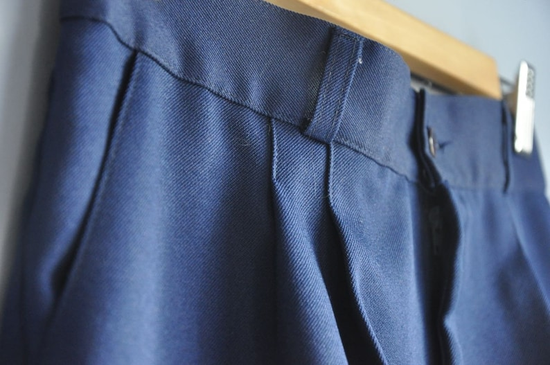 Vintage high waisted trousers size 4 navy blue pleats pockets Opening Sale women/'s business casual pants 90s fashion 1990s clothes