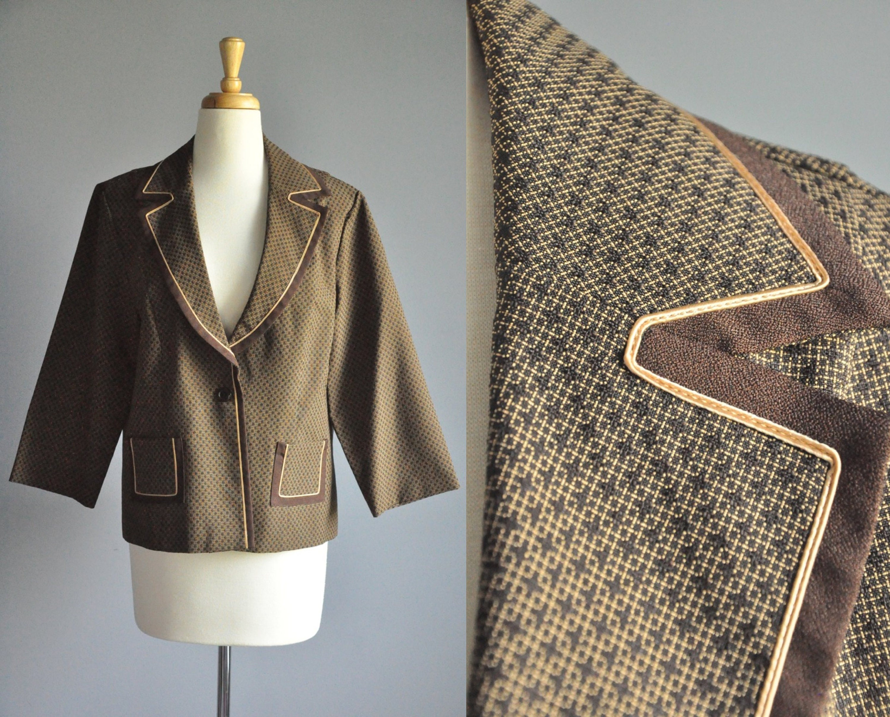 80s Dresses   Casual to Party Dresses 80S Blazer With Gold Trim, Vintage Womens Collared One Button Brown Suit Jacket, Business Casual Coat, 1980S Clothes Professional Fashion $0.00 AT vintagedancer.com