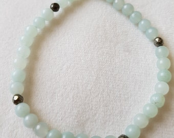 Amazonite and Pyrite bead crystal bracelet