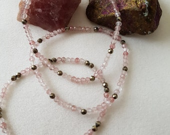 Strawberry quartz and pyrite faceted bead bracelet 3mm