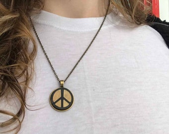 fea90dad0 Zen Black Peace Sign Necklace Pendant, Handmade Laser Engraved Design, 1  inch, Adjustable Length