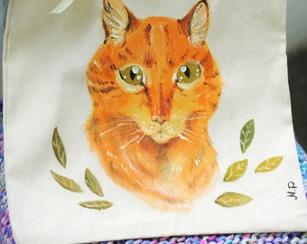 Hand-painted tote bag with a cat