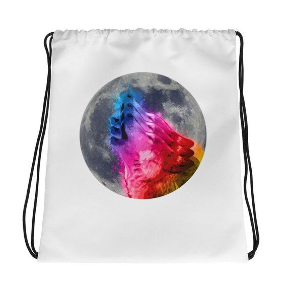 Drawstring Backpack Rainbow Moon Bags