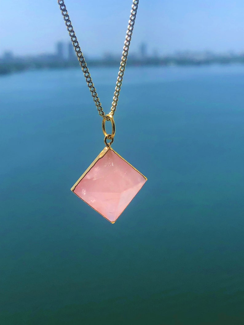 Rose Quartz Necklace Pendulum Pyramid Pendant ZEN Heart Chakra Crystal Jewelry Set with Reiki  Gift for Her