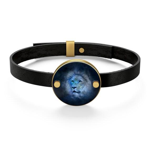 Zodiac Horoscope Leo Lion Leather Bracelet