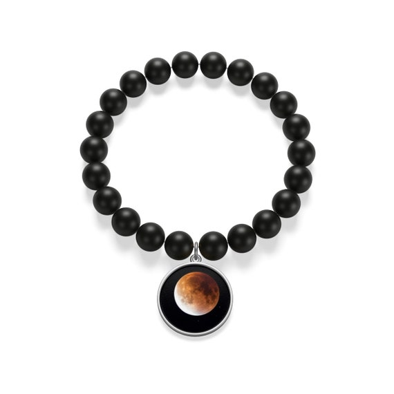 Moon In The Dark Sky Onyx Bracelet For Mystic Lovers Night Peace Lovers Bracelet Beautiful Moon Bracelet