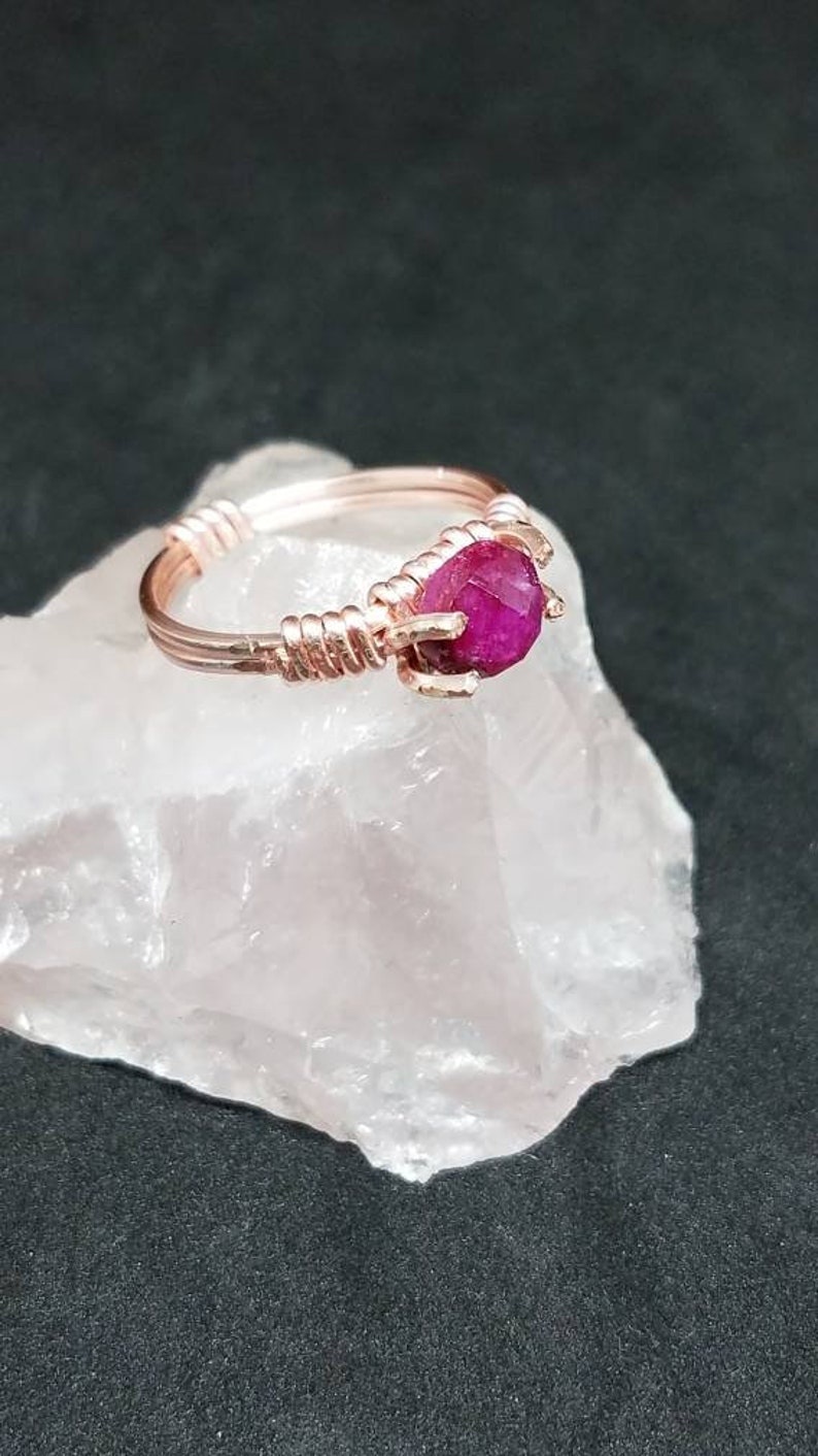 Bare Band Rose Gold Prong Ruby Ring Size 7
