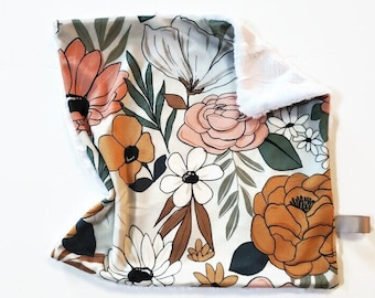 Baby Lovey. Security Blanket. Autumn Boho Floral, Double Minky, Stroller Blanket, Carseat Blanket. 17x17