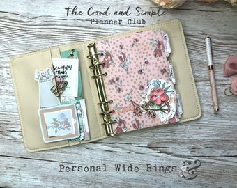 Ringplanner for Personal Wide Vegan-Leather with golden ring mechanics SHIPPING - Cream and Pink