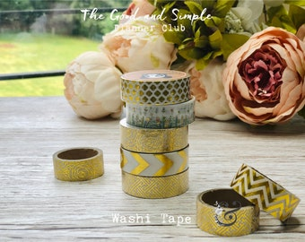 Golden Washi Tape approx. 1.5 cm wide, various designs