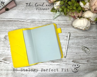 B6 Stalogy cover in vegan leather in different colours: yellow sands and greens