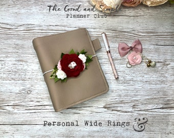 Personal Wide Planner with golden rings: Greige and chocolate colours
