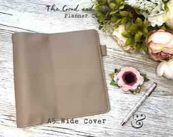 A5 Wide Planner Vegan Leather - 30 mm Golden Rings - Browntones