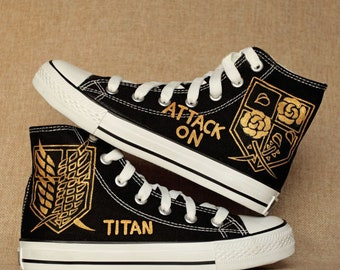 black high top sneakers painted titan attack on titan shoes cosplay custom  made canvas shoes christmas gift 32803b0f719a