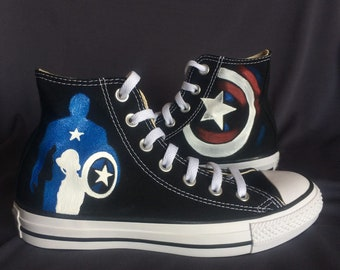 captain america shoe painted captain america sneakers high top canvas shoes  custom made superhero shoes christmas gift d4fe94152