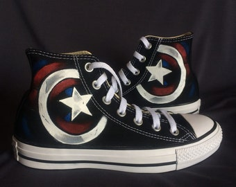 captain america shoe high top painted captain america sneakers canvas shoes  custom made superhero shoes christmas gift a7ce10823a