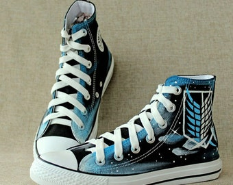 Attack on titan shoes cosplay high top painted titan sneakers custom made  canvas shoes christmas gift b52638132924