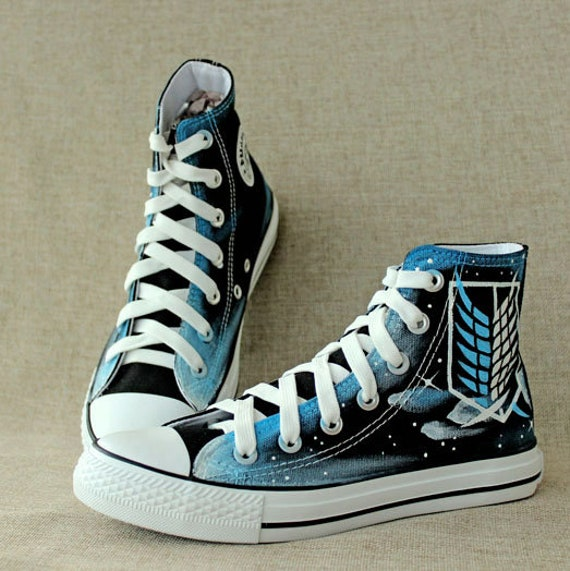 Attack on titan shoes cosplay high top painted titan sneakers  ec7bac062