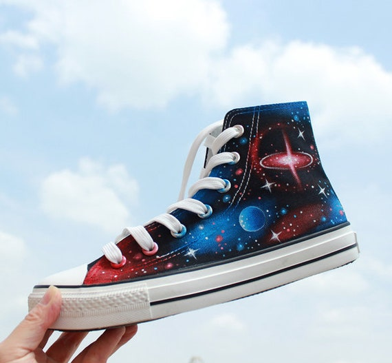 6677f63c744 Hand painted galaxy high top canvas shoe fashion sneakers