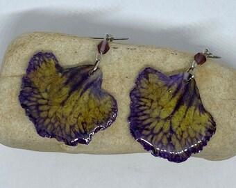 Real Flower Earrings Streptocarpus and resin #26