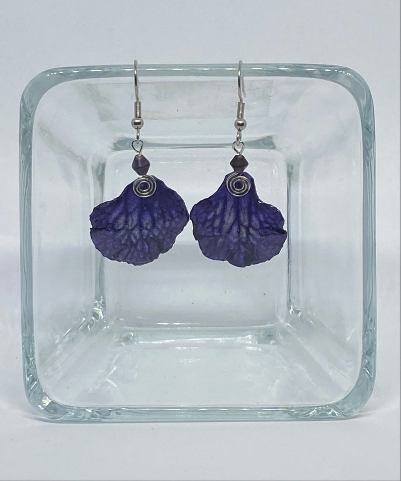 Real Flower Earrings Streptocarpus and resin #13