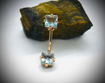 14G 316L Surgical Steel Rose Gold Square CZ Navel Ring
