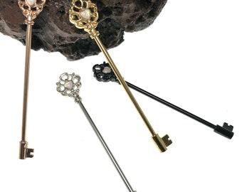 316L Surgical Steel Opal Heart Skeleton Key Barbell 14G Industrial Straight Barbell Piercing