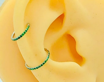 16g Micro Pave Green CZ 6mm, 8mm,10mm  Dainty conch Tragus hoop daith, rook piercing nose ring, septum clicker, hinged, segment piercing