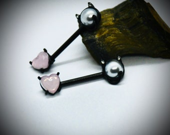14G, 316L Surgical Steel Black Cat Face With Pink Crystal & Pearl Cal Lovers Nipple Bar