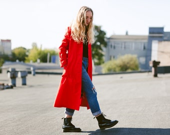 Vintage 70s Red Trench Coat . Long Belted Autumn Coat Lightweight Jacket Mac Coat Duster Coat Topcoat Rain Coat . size Small