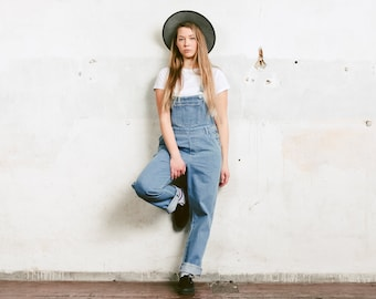 0ad40977d13 90s Denim Overalls . Light Blue Jean Dungarees Vintage Casual Bib Overalls  Denim Workwear 90s Clothing Baggy Overall Pants . size Medium