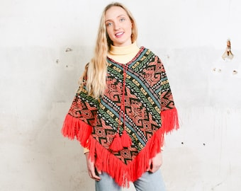 960948fad Vintage Ethnic Print Poncho . 90s Fringed Poncho Festival Poncho Boho  Blanket Poncho Colorful Patterned Cape Hippie Outfit . size Medium