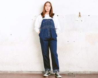 6e87732ae4de9 90s Maternity Dungarees . Vintage Jean Overalls Denim Workwear Dark Blue  Bib Overalls 90s Clothing Women Oversized Overalls . size Medium